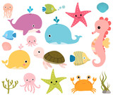 Cute sea animals for scrapbooking, baby showers and summer designs