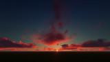 dark red sunset sky