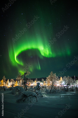 obraz lub plakat Aurora borealis (northern lights) in Lapland, Finland.