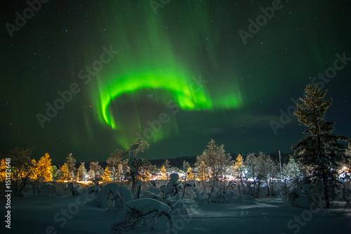fototapeta na ścianę Aurora borealis (northern lights) in Lapland, Finland.