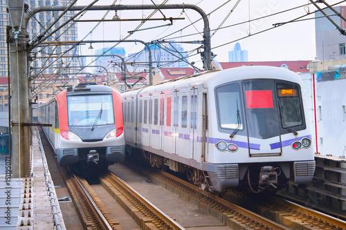 Tuinposter Shanghai Shanghai underground trains. China