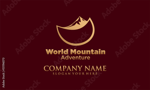 world mountain vector logo