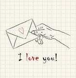 Hand drawn hand holding a lovely letter envelope on mathematical square paper