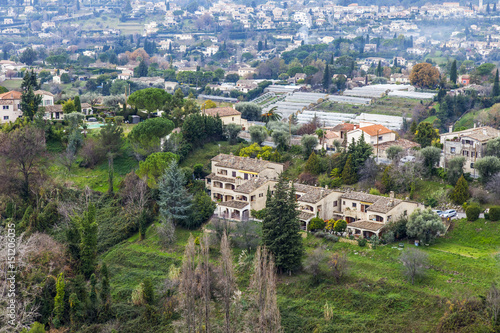 Keuken foto achterwand Olijf SAINT-PAUL-DE-VENCE, FRANCE, on JANUARY 9, 2017. The picturesque mountain town was located in the beautiful mountain valley. View from a city wall
