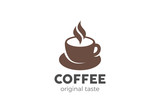 Coffee cup Logo design vector template Negative space style. Hot drinks Cafe Logotype concept icon.