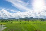 Terrace rice fields mountain view on blue sky with Cloud in Kanchanaburi, Thailand