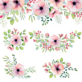 Watercolor set with pink flowers