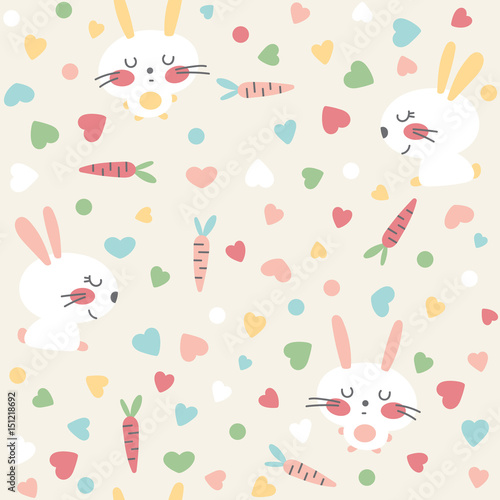 Seamless background with cute hares