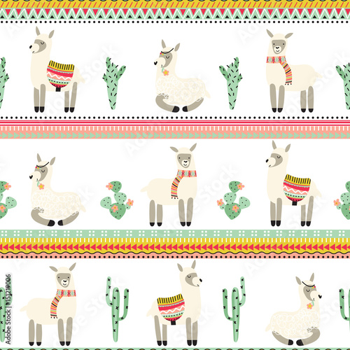 Seamless background with lama and Aztec pattern - 151219006