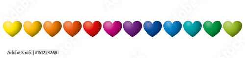 Twelve rainbow colored hearts in a row. Heart symbols in twelve unique color hues. Isolated illustration on white background. Vector.