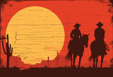 Silhouette of Cowboy Couple riding horses on a wooden sign, vector - 151227021