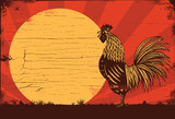 Drawing of rooster crowing at sunrise on a wooden sign, vector - 151229234