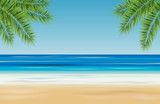 Fototapety Tropical landscape with sea, sandy beach and palm trees - vector illustration