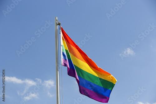 Foto Murales Rainbow flag on a flagpole