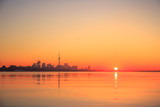 View of lake Ontario & Toronto city during sunrise