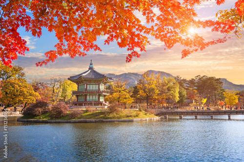 Maple leaves with pavilion old traditional at Gyeongbokgung palace, Seoul, South Korea Poster
