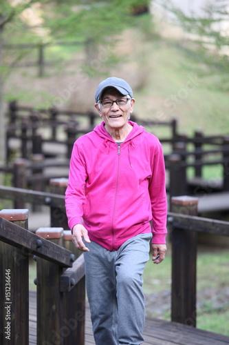 自然公園を散歩するシニアの男性 Poster