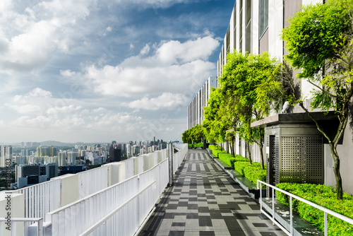 Amazing rooftop garden in Singapore. Outside terrace with park Poster