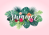 Summer tropical vector design for banner or flyer with exotic palm leaves, hibiscus flowers and handlettering. - 151270459