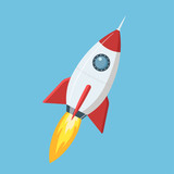 Flying cartoon rocket in flat style isolated on blue background. Vector illustration. - 151280481