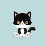 Cute cartoon black cat with big eyes. Vector illustration.