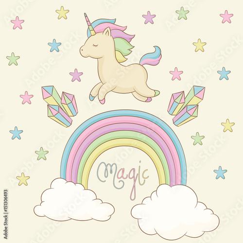 Unicorn, rainbow, crystals and stars around