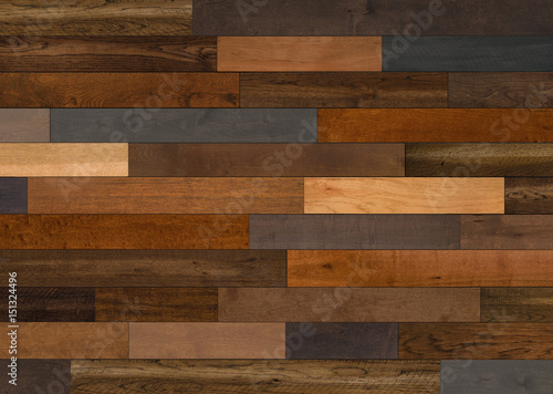 Mixed Species  Wood flooring pattern for background texture or interior design element - 151324496