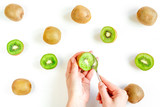 kiwi for healthy fruit dessert on white table background top view pattern