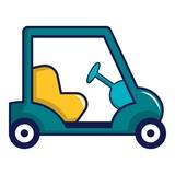 Blue golf cart icon, cartoon style