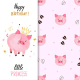 Birthday greeting card design for little girl. Vector illustration of cute little princess pig.