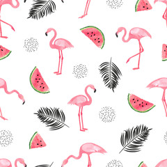 Seamless tropical trendy pattern with watercolor flamingos, watermelon and palm leaves. Vector summer background.