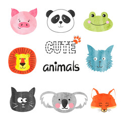 Watercolor cute animals set. Vector illustration for kids design.