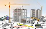 Maquette chantier bâtiment en construction et dessin industriel - 151337486