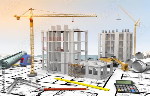 Foto Murales Maquette chantier bâtiment en construction et dessin industriel