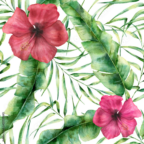 Watercolor floral pattern with exotic flowers and leaves. Hand painted seamless ornament with tropical plant: hibiscus, palm leaves and branches isolated on white background. For design or fabric - 151338643