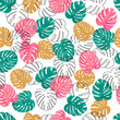 Cotton fabric Summer watercolor palm leaves pattern. Vector tropical background.