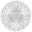 Black and white floral pattern for coloring book in doodle style. Vector elements for design. Good for art therapy, zentangle-style meditation and design of wrapping and textile. - 151341073