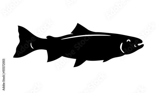 Fototapeta Simple vector fish silhouette trout