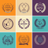 Laurel Wreath Badges Vector. Template for Awards, Quality Mark, Diplomas and Certificates. - 151375036