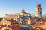 Katedra (Duomo) i Krzywa Wieża fotografowana z dachów, z Grand Hotel Duomo - Piza, Toskania, Włochy