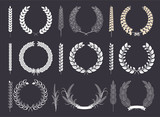 Laurel Wreaths and Branches Vector Collection - 151376274
