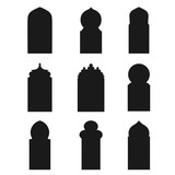 Arabic arch windows and doors , vector silhouettes - 151391655