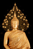 Golden Buddha statue against black wall.