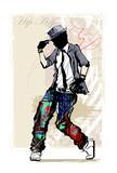 Hip hop dancer on grunge background - 151399213