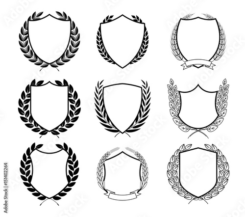 Laurel Wreath Badges Vector. Template for Awards, Quality Mark ...