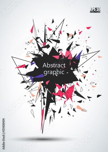 Graphic illustration with geometric pattern. Explosion effect. Eps10 Vector illustration.