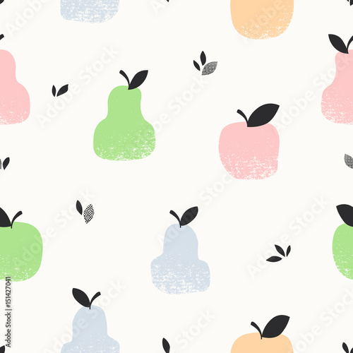 seamless pattern with apples, pears and leaves - 151427041