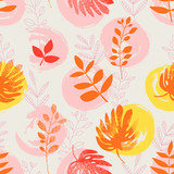 seamless pattern with hand drawn circles and leaves
