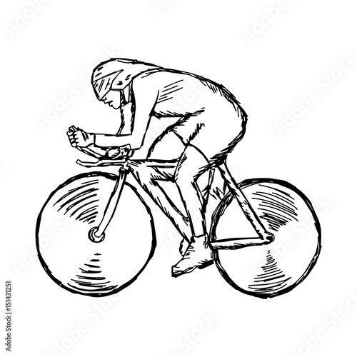 Deurstickers Fietsen Track cycling - vector illustration sketch hand drawn with black lines, isolated on white background