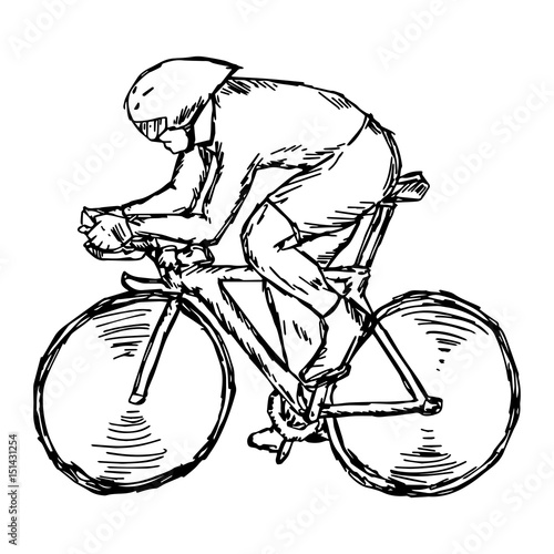 Deurstickers Fietsen Track cycling competition - vector illustration sketch hand drawn with black lines, isolated on white background
